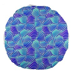 Blue And Purple Glowing Large 18  Premium Round Cushions