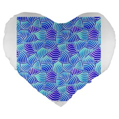 Blue And Purple Glowing Large 19  Premium Heart Shape Cushions