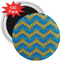 Blue And Yellow 3  Magnets (100 Pack)