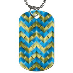 Blue And Yellow Dog Tag (One Side)