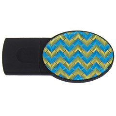 Blue And Yellow Usb Flash Drive Oval (4 Gb)