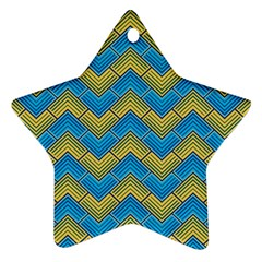 Blue And Yellow Star Ornament (two Sides)