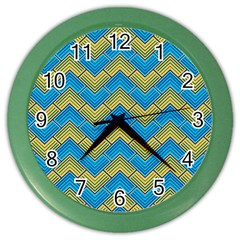 Blue And Yellow Color Wall Clocks