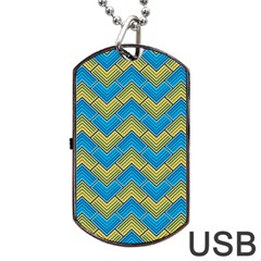 Blue And Yellow Dog Tag USB Flash (One Side)