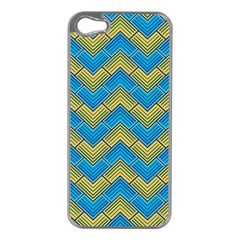 Blue And Yellow Apple iPhone 5 Case (Silver)