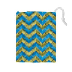 Blue And Yellow Drawstring Pouches (Large)