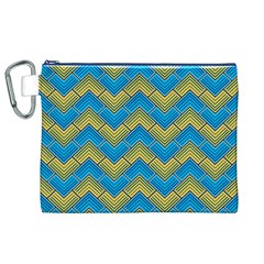 Blue And Yellow Canvas Cosmetic Bag (XL)