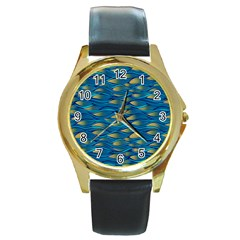 Blue Waves Round Gold Metal Watch