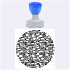 Blue Waves Rubber Round Stamps (Large)