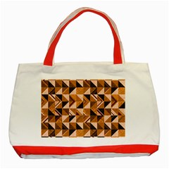 Brown Tiles Classic Tote Bag (Red)