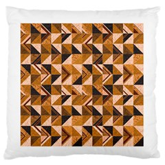 Brown Tiles Large Flano Cushion Case (one Side)