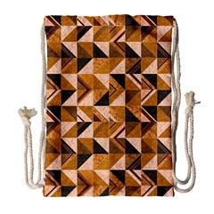 Brown Tiles Drawstring Bag (Large)