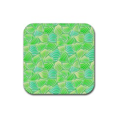 Green Glowing Rubber Square Coaster (4 pack)
