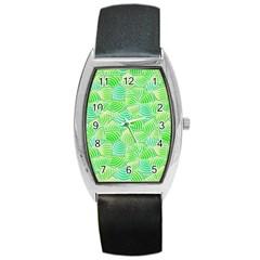 Green Glowing Barrel Style Metal Watch