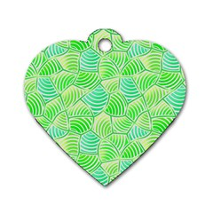 Green Glowing Dog Tag Heart (two Sides)