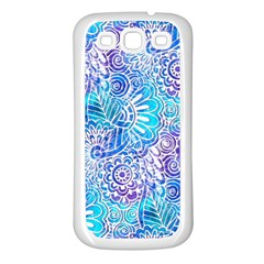 Boho Flower Doodle On Blue Watercolor Samsung Galaxy S3 Back Case (White)