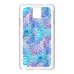 Boho Flower Doodle On Blue Watercolor Samsung Galaxy Note 3 N9005 Case (White)
