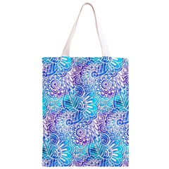 Boho Flower Doodle On Blue Watercolor Classic Light Tote Bag