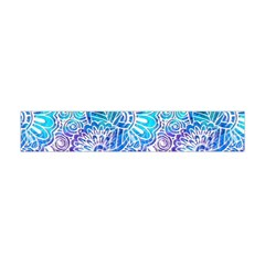 Boho Flower Doodle On Blue Watercolor Flano Scarf (Mini)