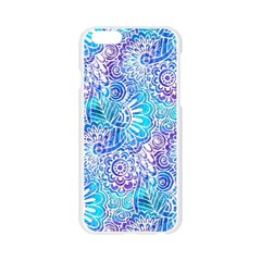 Boho Flower Doodle On Blue Watercolor Apple Seamless iPhone 6/6S Case (Transparent)