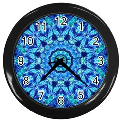 Blue Sea Jewel Mandala Wall Clock (Black)