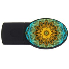 Blue yellow Ocean Star flower mandala USB Flash Drive Oval (2 GB)