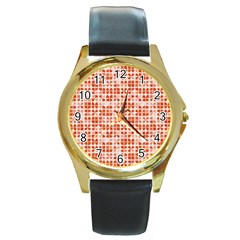 Pastel Red Round Gold Metal Watch