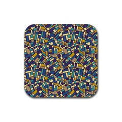Pastel Tiles Rubber Square Coaster (4 pack)