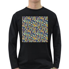 Pastel Tiles Long Sleeve Dark T-Shirts