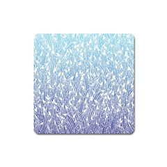 Blue Ombre Feather Pattern, White, Magnet (square)