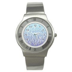 Blue Ombre feather pattern, white, Stainless Steel Watch