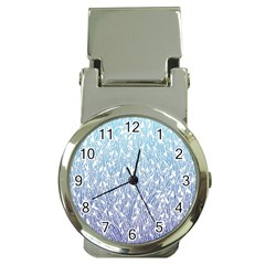 Blue Ombre feather pattern, white, Money Clip Watch