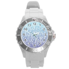 Blue Ombre feather pattern, white, Round Plastic Sport Watch (L)