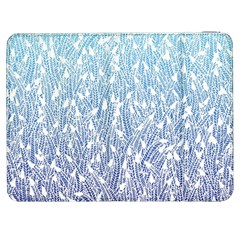 Blue Ombre feather pattern, white, Samsung Galaxy Tab 7  P1000 Flip Case