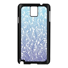 Blue Ombre feather pattern, white, Samsung Galaxy Note 3 N9005 Case (Black)