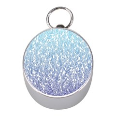 Blue Ombre feather pattern, white, Silver Compass (Mini)