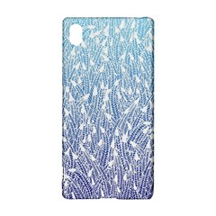 Blue Ombre feather pattern, white, Sony Xperia Z3+ Hardshell Case