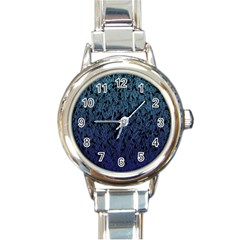 Blue Ombre feather pattern, black, Round Italian Charm Watch