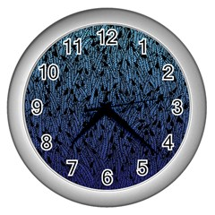 Blue Ombre feather pattern, black, Wall Clock (Silver)