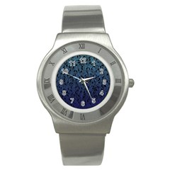 Blue Ombre feather pattern, black, Stainless Steel Watch