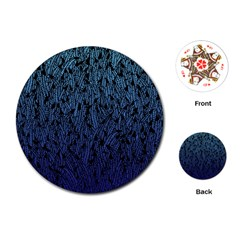 Blue Ombre Feather Pattern, Black, Playing Cards (round)