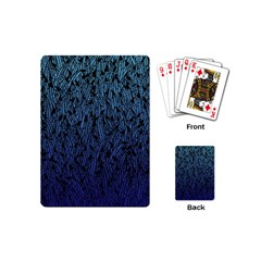 Blue Ombre feather pattern, black, Playing Cards (Mini)