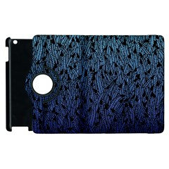 Blue Ombre feather pattern, black, Apple iPad 3/4 Flip 360 Case