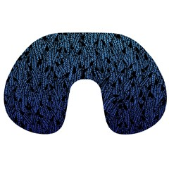 Blue Ombre feather pattern, black, Travel Neck Pillow