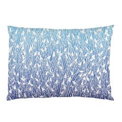 Blue Ombre feather pattern, white, Pillow Case