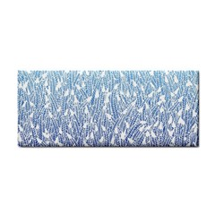 Blue Ombre feather pattern, white, Hand Towel