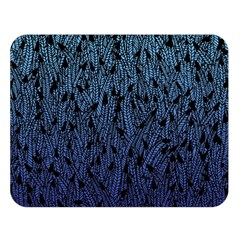Blue Ombre feather pattern, black, Double Sided Flano Blanket (Large)