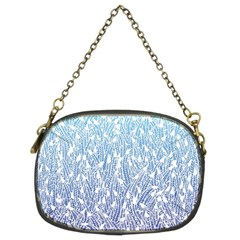 Blue Ombre Feather Pattern, White, Chain Purse (two Sides)