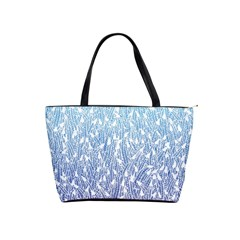 Blue Ombre feather pattern, white, Classic Shoulder Handbag