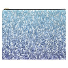 Blue Ombre feather pattern, white, Cosmetic Bag (XXXL)